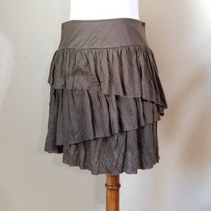 Banana Republic Skirt SZ 4 Brown Ruffled Tiered